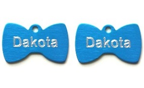 Aluminum Blue Bowtie Tags - Small