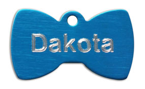 Bowtie shaped pet tags