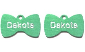 Aluminum Green Bowtie Tags - Small