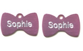 Aluminum Pink Bowtie Tags - Small