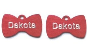 Aluminum Red Bowtie Tags - Small