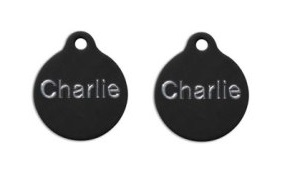 Aluminum Black Round Tags - Small