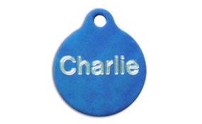 Aluminum Blue Round Tags - Large