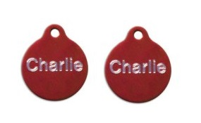 Aluminum Red Round Tags - Small
